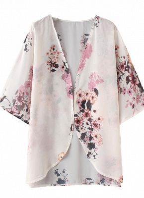 Women Chiffon Kimono Beach Cover-Up Floral Print Casual Loose Boho Cardigan Outerwear_5