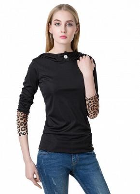 Fashion Leopard Button Hooded Neck Long Sleeve Black Sweatshirt_1
