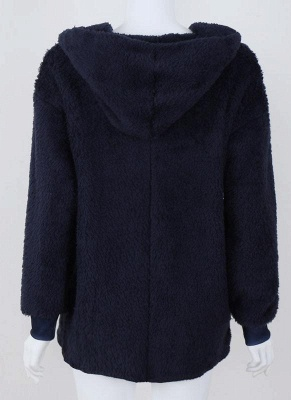 Fashion Women Hooded Cardigan Cashmere Solid Warm Knitted Outerwear Sweater Coat_4