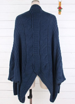 Women Casual Solid Open Front Knitting Sweater Loose Cardigan_5