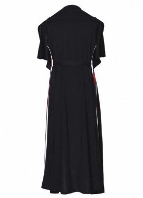 Women Coat Outerwear Striped Belt Sleeveless Turn-Down Collar Open Front Casual Long Overcoat_10