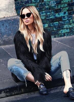 Faux Fur Coat Long Sleeve Fluffy Outerwear Short Jacket Hairy Warm Overcoat_14