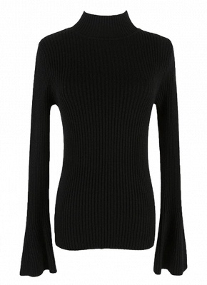Fashion Winter Women Ribbed Flare Sleeves Stand Collar Women's Sweater_4