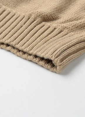 Knitted Hollow Out Pull Over Lace Up Dropped Shoulder Long Sleeve Sweater_11