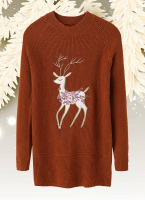 size Christmas Women Knitted Pullovers Long Sleeve Reindeer Embroidered Sweater_2