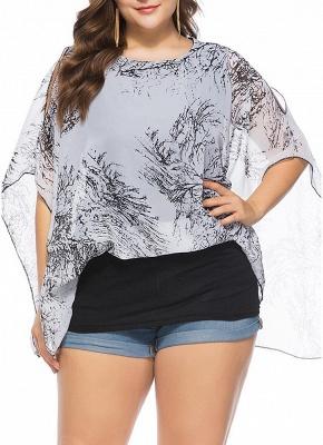 Women Plus Size Chiffon Tops Cold Shoulder Contrast Print Scarves Blouses Tees_1