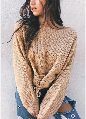 Sexy Off Shoulder Sweater Slash Neck Lace-Up Bandage Women's Pullover_2