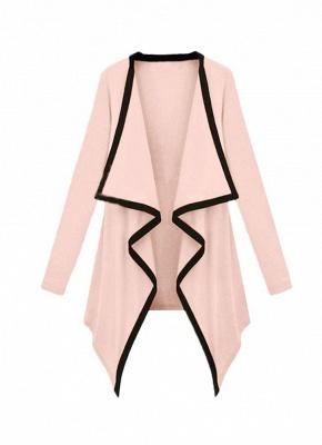 Fashion Contrast Asymmetric Long Sleeve Cape Cardigan_1