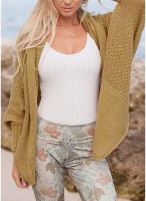 Women Loose Knitted Cardigan Bat Long Sleeves Casual Sweater Outerwear_2