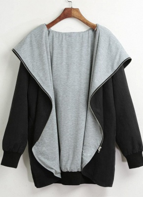 Autumn Winter Hoodies Zip Up Long Sleeve Plus Size Loose Women's Jacket_5
