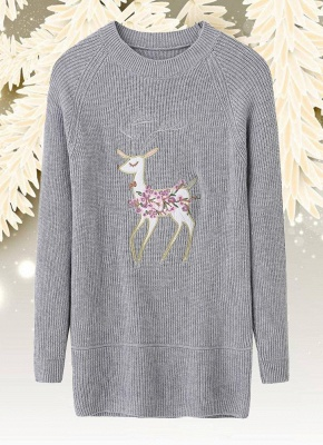 size Christmas Women Knitted Pullovers Long Sleeve Reindeer Embroidered Sweater_4