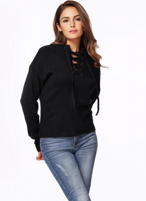 Lace-Up Knit Sweater V Neck Long Sleeves Ribbed Cuffs Hem Women's Pullover_9