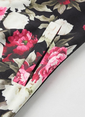 Fashion Women Floral Print Jacket Coat Zipper Long Sleeve Pocket Bomber Jacket_8