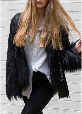 Faux Fur Coat Long Sleeve Fluffy Outerwear Short Jacket Hairy Warm Overcoat_8