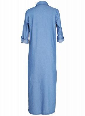 Women Denim Trench Coat Open Front Waterfall Long Sleeve Split Casual Outwear_6