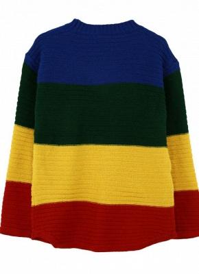 yellow Rainbow Color Block Crew Neck Sweater_5