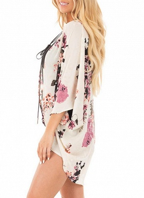 Women Chiffon Kimono Beach Cover-Up Floral Print Casual Loose Boho Cardigan Outerwear_4