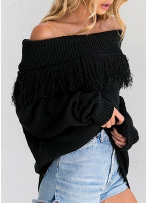 Women Off The Shoulder Tassels Ribbed Long Sleeve Knitted Sweater_4