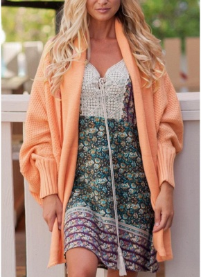 Women Loose Knitted Cardigan Bat Long Sleeves Casual Sweater Outerwear_1
