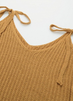 Women Knitted Sweater V Neck Cold Shoulder Flare Sleeve Spaghetti Straps Streetwear_7