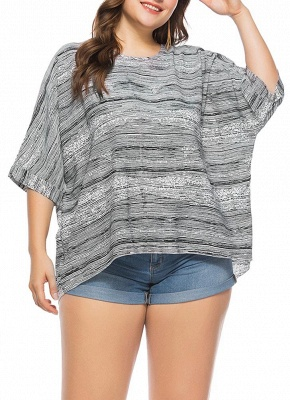 Women Plus Size Loose Blouse Striped Half Sleeves Elegant Top Pullover_1