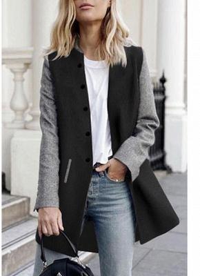 Women Winter Color Splice Long Sleeves Side Pockets Buttons Outerwear Coat_3
