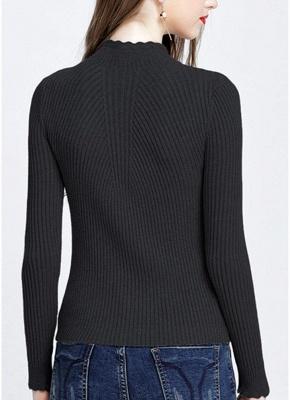 Fashion Women Turtleneck Long Sleeve Ruffled Knitting Sweater_11