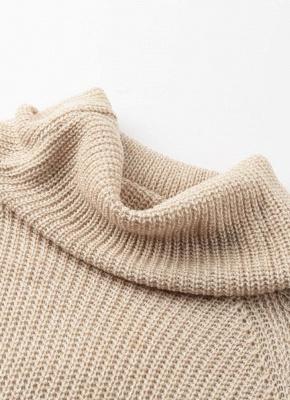 Winter Women Warm Oversize Turtleneck Sweater Long Sleeve Pockets Casual Rib Knitted Mini Dress_7
