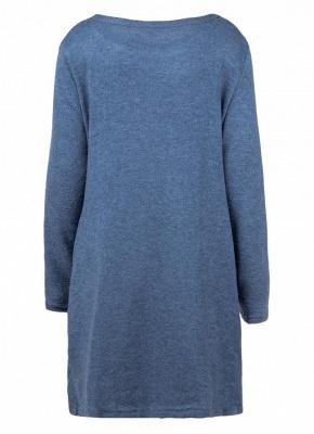 Women Loose Knit Sweater Dress Long Sleeves Pockets Party Mini Straight Dress_9