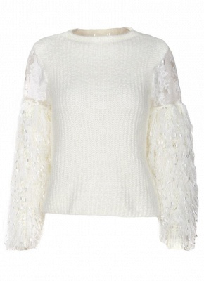Knitted Lace Fluffy Faux Fur O-Neck Long Sleeve Sweater_10