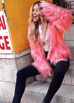 Faux Fur Coat Long Sleeve Fluffy Outerwear Short Jacket Hairy Warm Overcoat_3