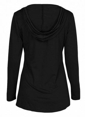 Fashion Autumn Women Hooded Drawstring Front Pocket Long Sleeves Tee_10