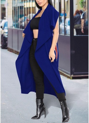 Women Coat Outerwear Striped Belt Sleeveless Turn-Down Collar Open Front Casual Long Overcoat_3