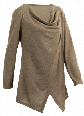 Knitwear Solid Color Asymmetric Long Roll Up Sleeve Women's Sweatershit_1