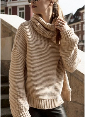 Women Loose High-Neck Long Sleeve Solid Warm Turtleneck Knitted Sweater_1