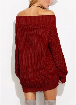 Sexy Women Off the Shoulder V Neck Chunky Knitwear_8