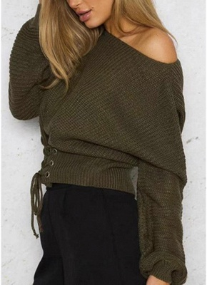 Sexy Off Shoulder Sweater Slash Neck Lace-Up Bandage Women's Pullover_10