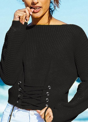 Sexy Off Shoulder Sweater Slash Neck Lace-Up Bandage Women's Pullover_4