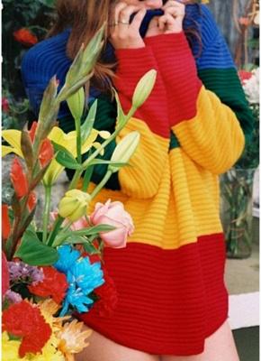 yellow Rainbow Color Block Crew Neck Sweater_3
