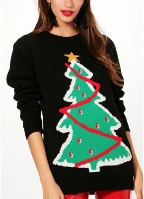 size Women Christmas Santa Knitted Sweater One Size_2