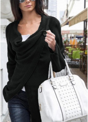 Knitwear Solid Color Asymmetric Long Roll Up Sleeve Women's Sweatershit_2