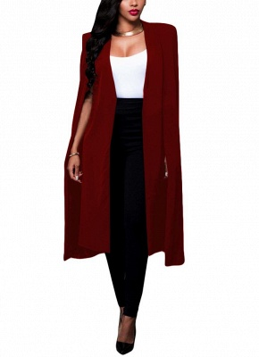 Fashion Women Cloak Cape Split Slim Office OL Suit Solid Long Blazer_2
