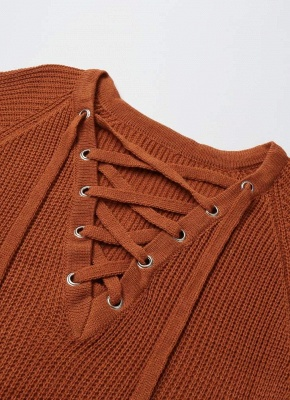 Neck Striped Bandage Cross Ties Knitted Sweater_7