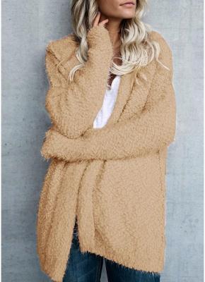 Fashion Women Fleece Hooded Cardigan Open Front Long Sleeve Solid Warm Hoodie Outerwear Loose Sweater Coat_3