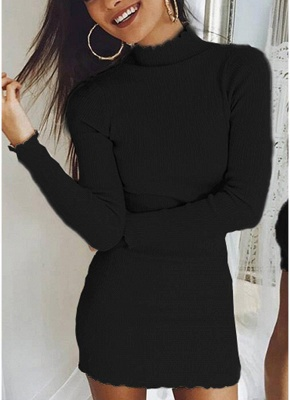 Slim Bodycon Dress High Neck Long Sleeve Knitted Elastic Sweater Party Night Dress_7