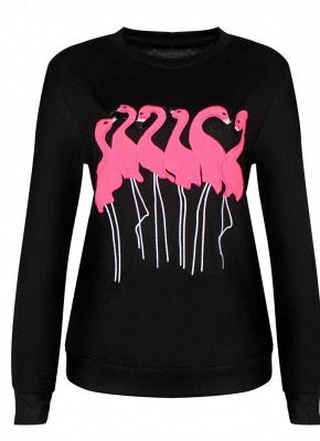 Fashion Women Embroidery Flamingo O Neck Long Sleeve Sweatshirt_6