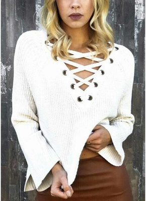 Autumn Winter Sweater Flare Sleeve Lace Up V-Neck Women's Pullover_1