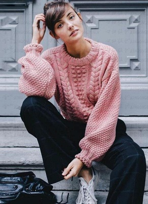 New Women Twist Solid Color Long Sleeve Loose Pullover Knitted Sweater_6