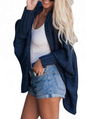 Women Casual Solid Open Front Knitting Sweater Loose Cardigan_4