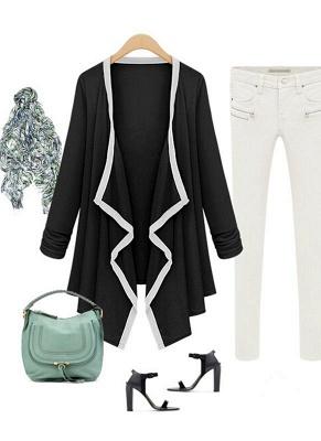 Fashion Contrast Asymmetric Long Sleeve Cape Cardigan_4